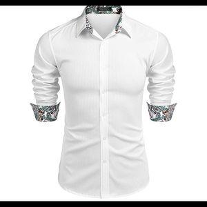01002Men's Slim Fit Dress Shirt Long Sleeve Casual